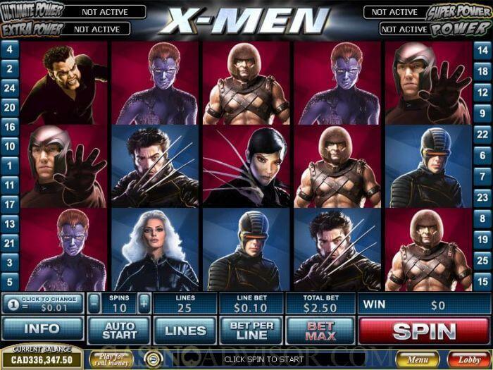 idealcasino.nl playtech x-men videoslot screenshot