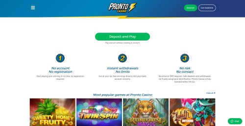 idealcasino pronto casino review screenshot homepage